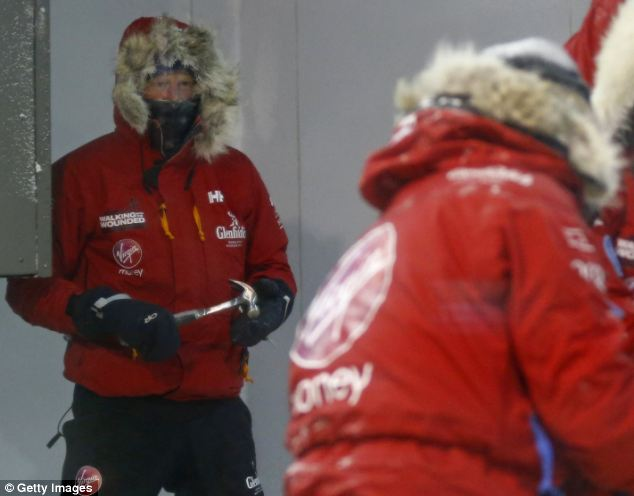 Prince Harry wearing cold weather fashion in South Pole