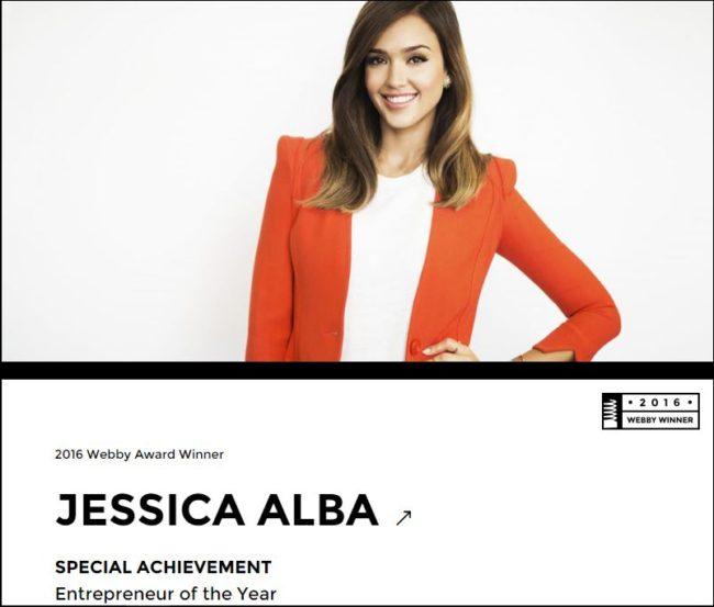 Jessica Alba 2016 Webby Award Winner