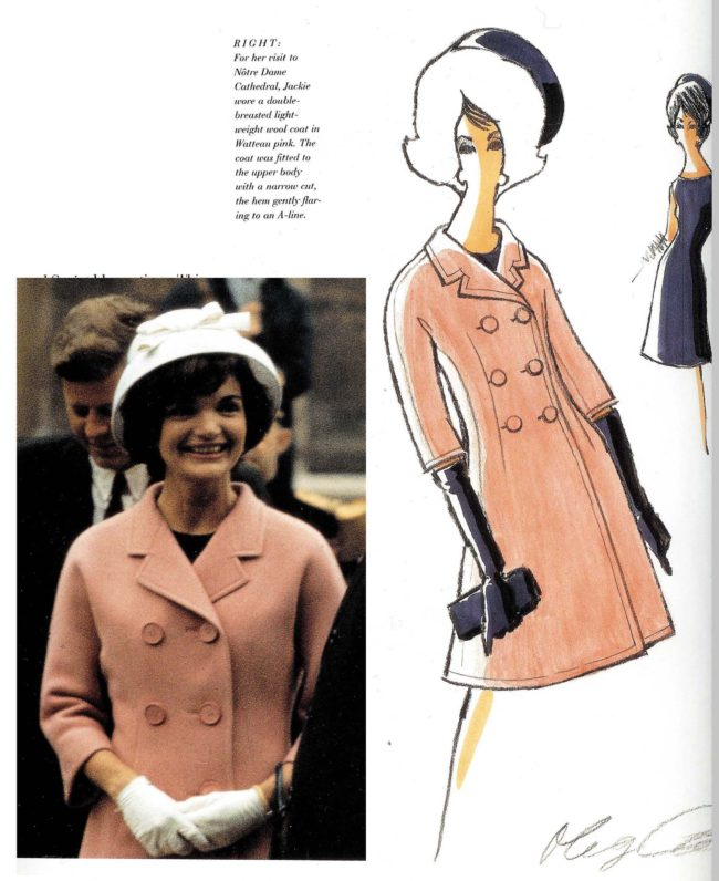 Jacqueline Kennedy reliend heavily on the design aesthetic of Olef Cassini
