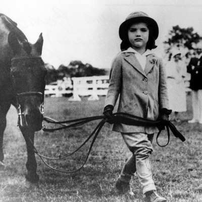 Jacqueline Bouvier, age 4, with a pony at a Southampton horse show in 1933