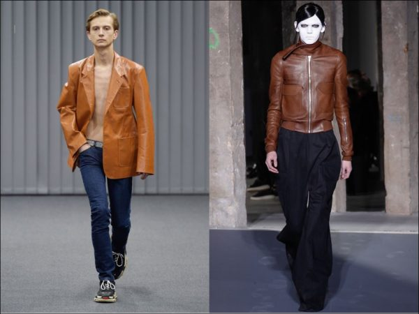 Louis Vuitton, Rick Owens both shoed variations on the men's leather jacket for fall 2017