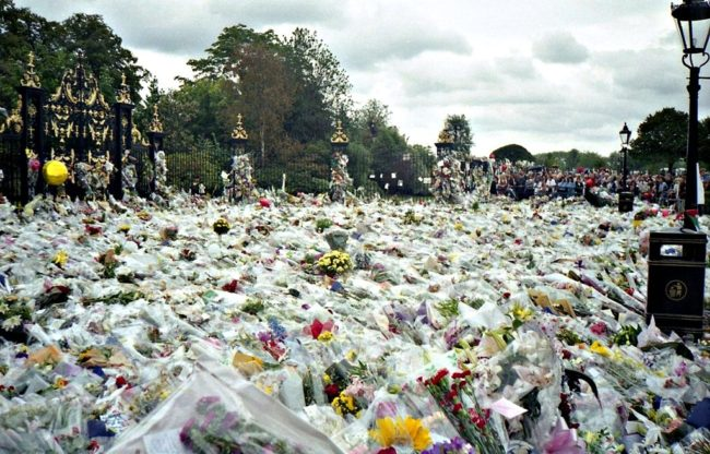 A sea of flowers lay outside the gates to the Palace just a day after the death of Princess Diana