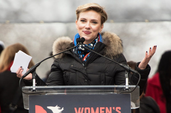 Actress Scarlett Johansson smiles at the Women's March in Washington DC