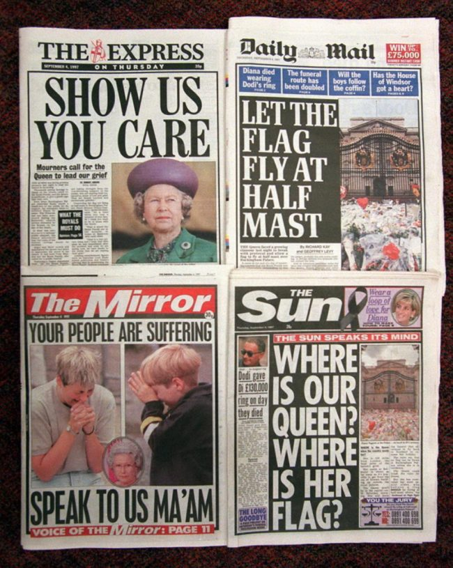 English newspaper headlines days after Princess Diana's death
