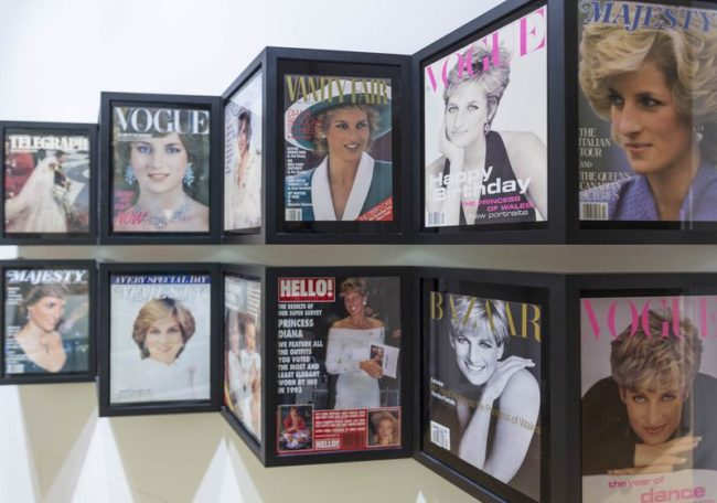 Past magazine covers with Princess Diana on display