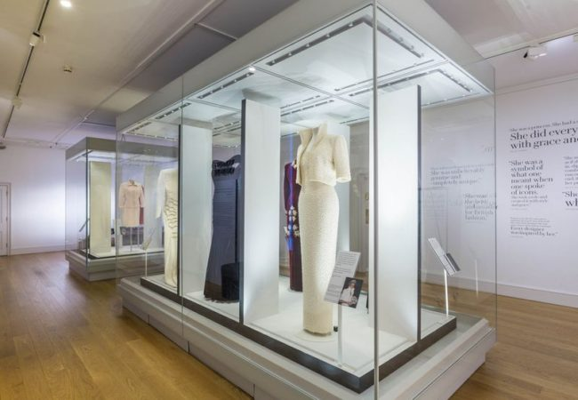 Dresses on display in the Princess Diana exhibit