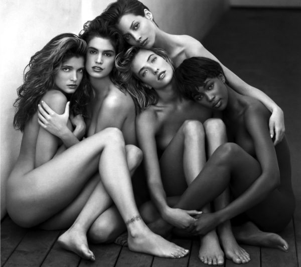 Famous Herb Ritts 80s Supermodels photo from 1989 featuring Cindy, Naomi, Christy Turlington, Tatjana Patitz and Stephanie Seymour
