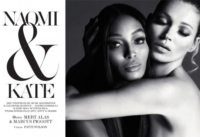 Interview magazine Russia December 2012 issue explored the life long friendship between Naomi Campbell and Kate Moss