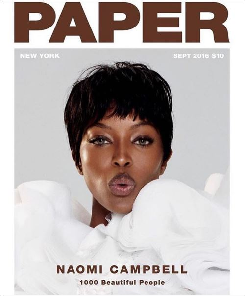 Naomi on the cover of November 2016 Paper magazine