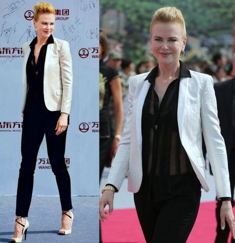 Nicole Kidman wearing ivory Saint Laurent tuxedo jacket by Hedi Slimane