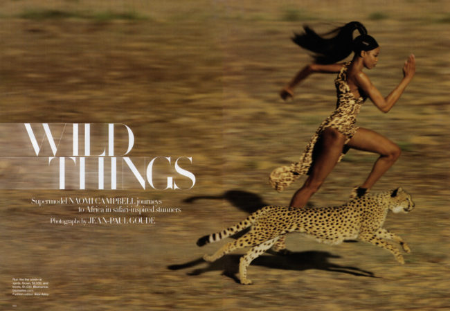 "September issue of Harper's Bazaar is an editorial spread called ""Wild Things"" featuring Naomi Campbell. Photographed by Jean-Paul Goude, they picture Naomi Campbell running alongside a cheetah in a cheetah-print bodysuit, playing jump rope with monkeys, straddling a crocodile, and, of course, riding an elephant. It feels almost ridiculous to type those photographic scenarios out."