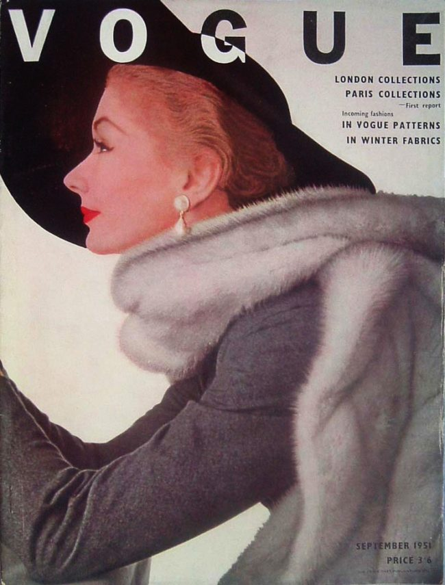 Vogue September 1951 issue with Lisa Fonssagrives on the cover and shot by Irving