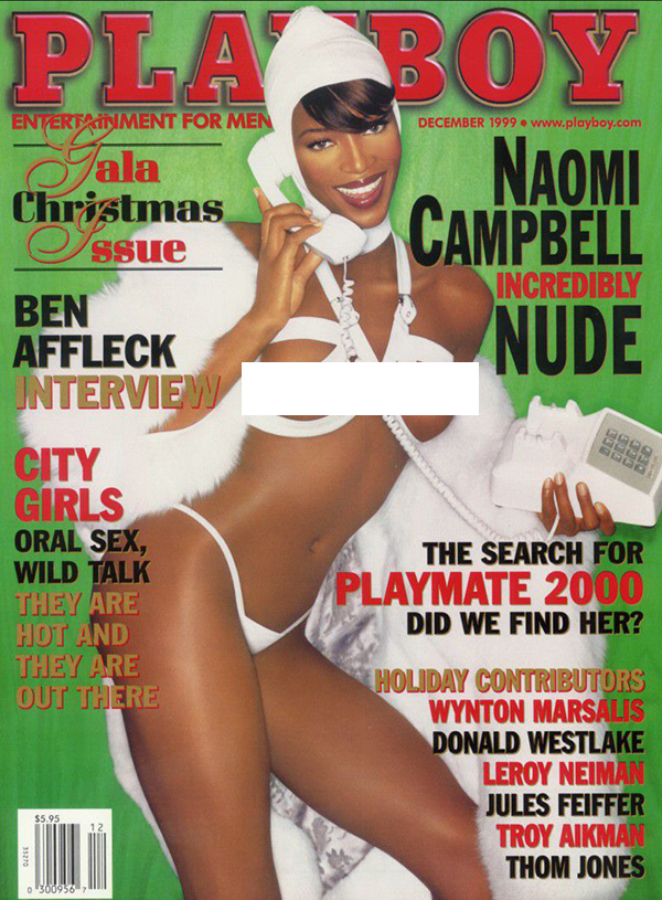 Naomi Campbell had holiday spirit for Playboy December 1999 Cover