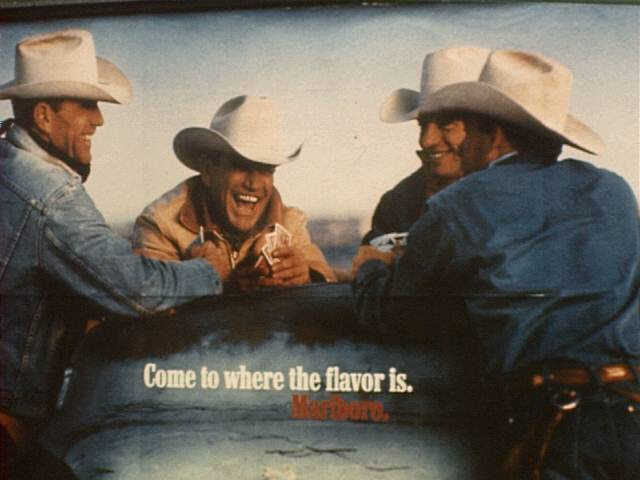 1982 ads like this Marlboro Cowboy ad solidified cowboys with sturdy denim