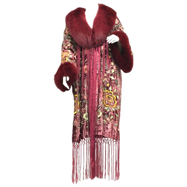 An example of a Adrienne Landau Floral Embroidered Velvet Fox Fringe Kimono Coat Jacket