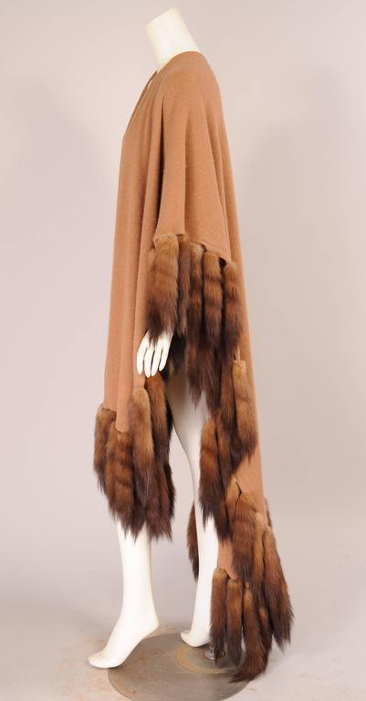Iconic vintage Oversized Adrienne Landau camel cashmere wrap with sable tails