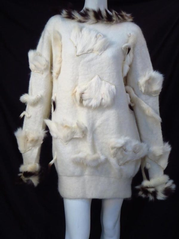 Adrienne Landau Vintage 80's Boho Ivory Wool Fur Sweater Dress