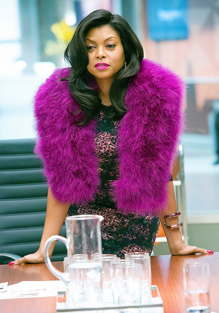 Cookie Lyons on the hit Fox show Empire wearing a print dress and purple Adrienne Landau rabbit vest