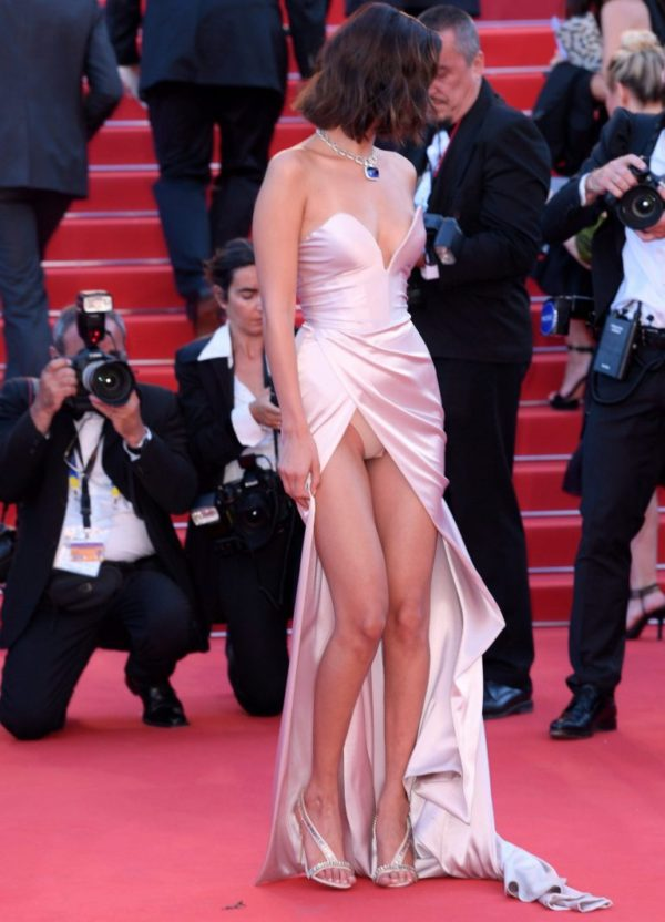 It looked like it was going to be a home run for Bella Hadid in her custom Alexandre Vauthier gown at the Cannes Film Festival 2017