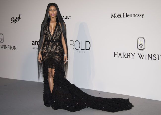 Nicki Minaj wore a deep-V décolleté Roberto Cavalli Couture black evening gown at Cannes Film Festival 2017