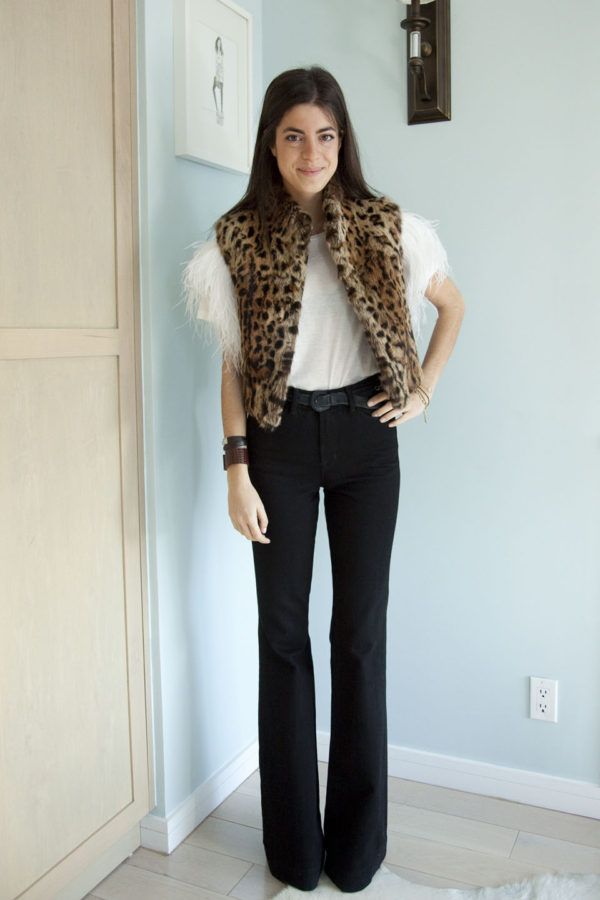 Fashion blogger Leandra Medine from The Man Repeller rocking a vest by Adrienne Landau