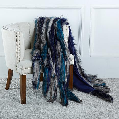 A by Adrienne Landau Faux Fur Throw with Tails-Blue Coyote from HSN