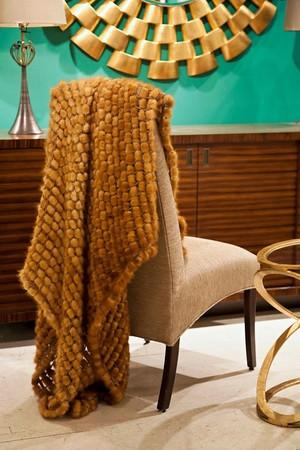 Knitted mink crochet throw from the Adrienne Landau collection