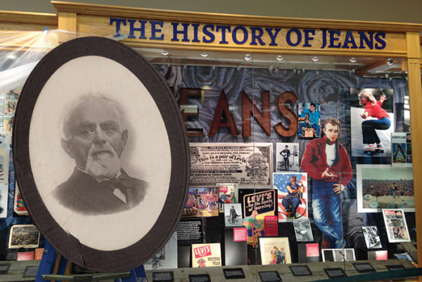 Jacob Davis, above, spawned a lifestyle when he invented the riveted work pant that later became known as Levi's jeans, as evidenced by the display at the Scheels store in Sparks. The display is part of the area's celebration of Davis' contribution to denim history. Jacob Davis photo courtesy of Nancy Finken.