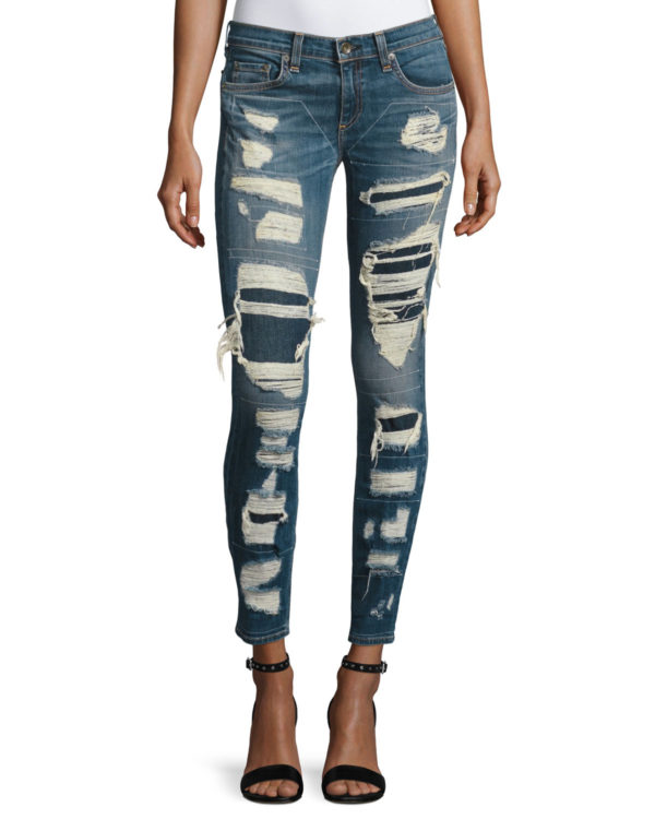 Rag & Bone Dre Distressed & Repaired Mid-Rise Skinny luxury fashion Jeans, Ada Brigade sold at Neiman Marcus