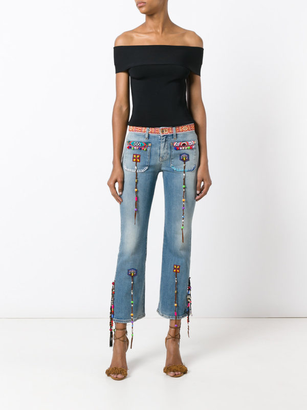 Roberto Cavalli beaded fringes cropped luxury fashion denim