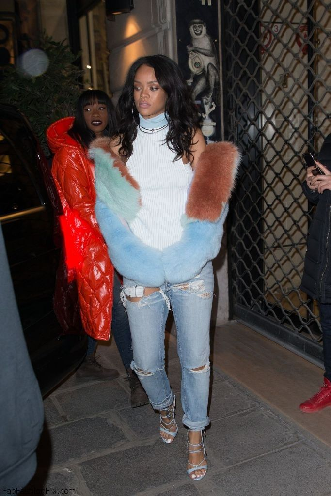 Celebrities like Rihanna love the luxury fashion denim and fur look