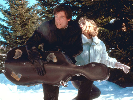 Timothy Dalton as James Bond with actress Maryam d'Abo in the 1976 film 'The Living Daylights'