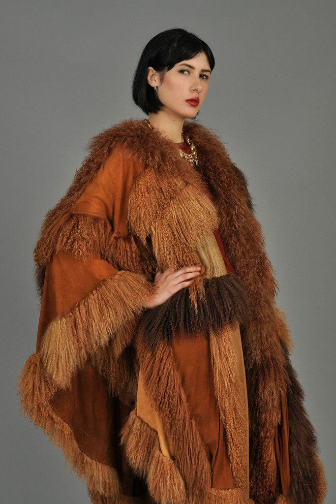 Vintage Adrienne Landau Leather, Snakeskin + Mongolian Lamb Cape