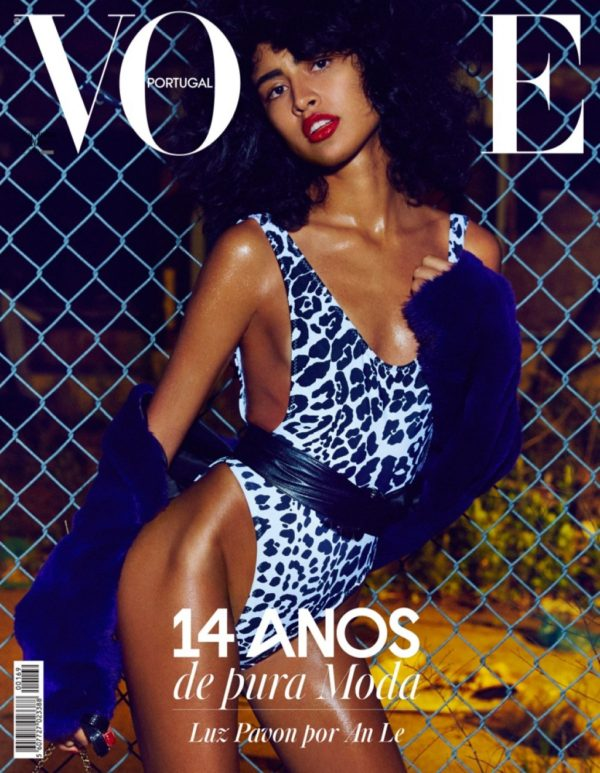 Model Luz Pavon poses in Norma Kamali swimsuit with Adrienne Landau fur jacket on the cover of Vogue Portugal