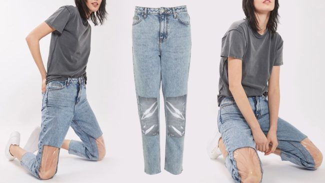 Clear Panel Mom jeans are luxury fashion Denim that nobody is loving