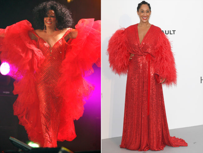 Tracee Ellis Ross channeled her mother Diana Ross is a crimson sequins gown with dramatic marabo feathered sleeves from Jenny Packham at Cannes Film Festival 2017