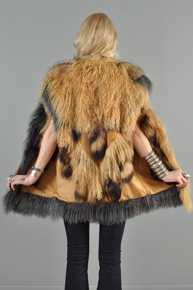 Vintage Adrienne Landau Lamb and coyote tail vest