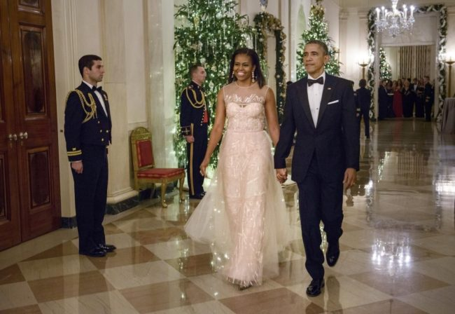 Former First Lady Michelle Obama dazzled in a Monique Lhuillier gown at the 2014 Kennedy Center Honors