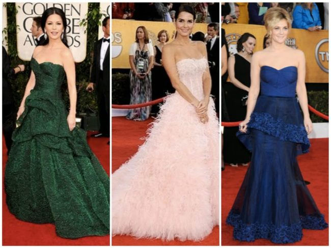 Catherine Zeta-Jones, Angie Harmon, Drew Barrymore in Monique Lhuillier gowns in 2011