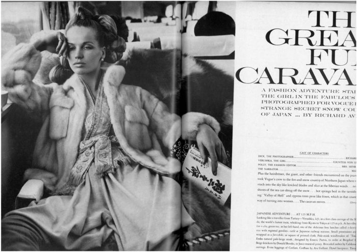 """The Great Fur Caravan"" shot be Richard Avedon under the direction of Diana Vreeland and Polly Mellen for the October, 1966 issue of Vogue."