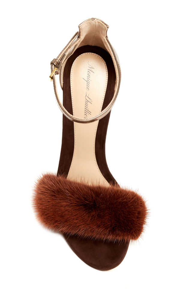 Brown chocolate marlowe mink sandals from Monique's collection