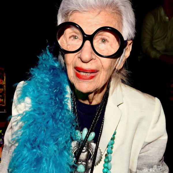 Iris Apfel showing her age appropriate in 2017