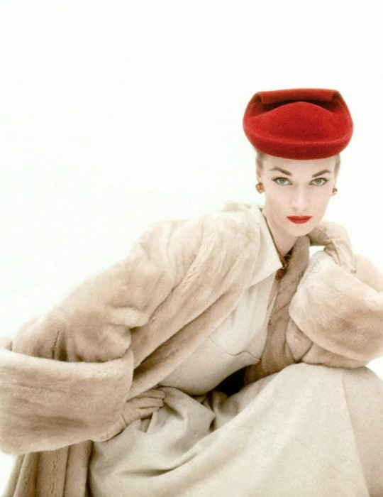 Iconic image by American Vogue photographer Clifford Coffin (1913-1972) featuring a blonde mink Balenciaga coat