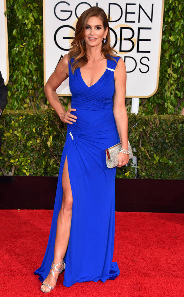 Cindy Crawford, Golden Globes, 2015. Age appropriate style