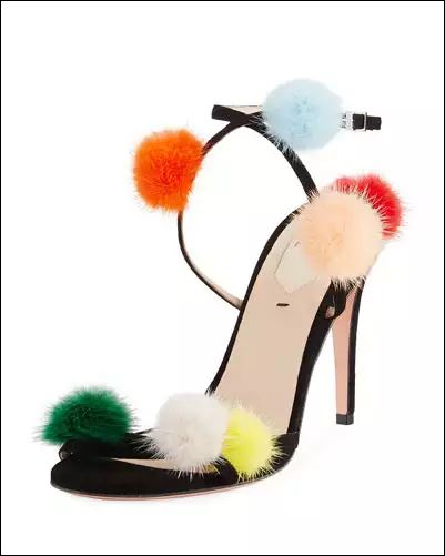 Furry footwear Suede Ankle-Wrap Sandal w/Mink Fur Pompoms, Multi
