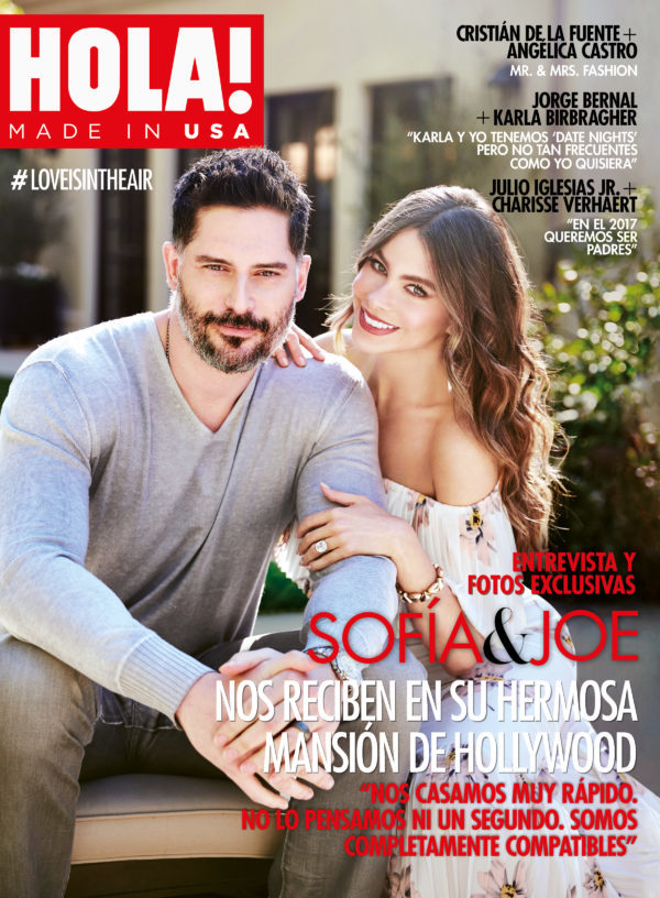 Sofia Vergara and husband Joe Mangenello on a joint magazine cover for HOLA! USA