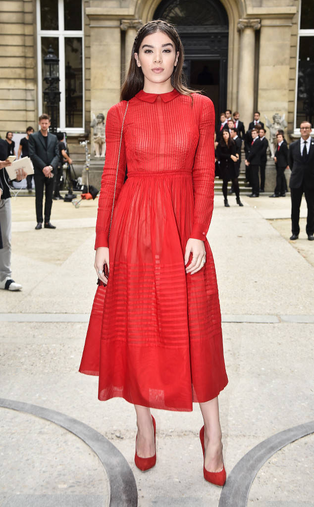 Hailee Steinfeld in a polished Valentino dress at the designer's Paris Fashion Week show in October 2016 age appropriate style