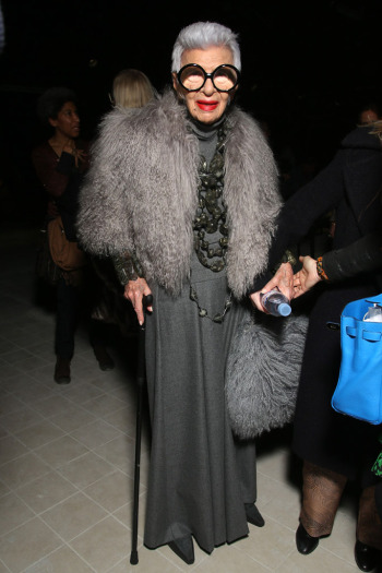Iris Apfel showing her age appropriate style at the Dries Van Noten Fall 2016 fashion
