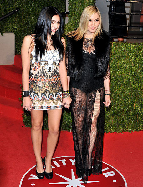 Age Appropriate style in question, Madonna, 53 with daughter Lourdes at the 2011 Vanity Fair party after the Academy Awards