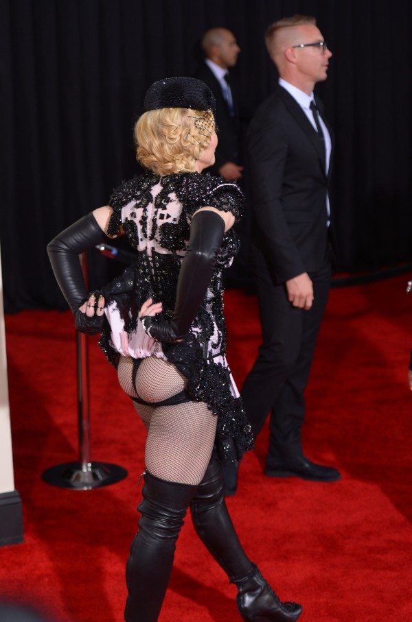 Age Appropriate style in question. Madonna bared it all in a blush-worthy Givenchy matador costume at 2015 Grammys